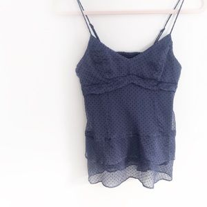 AE Navy Polka Dot Ruffle Tank Top